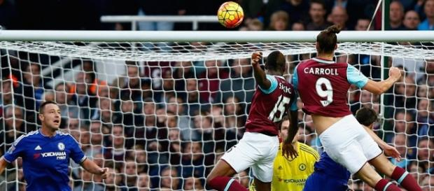 Andy Carroll scored West Ham's 79th minute winner