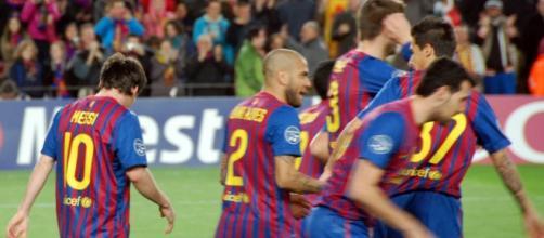El Barcelona, en pleno festejo.