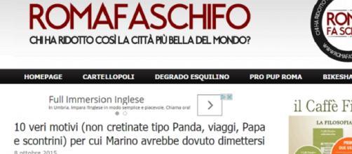 Il post del blog Roma fa schifo