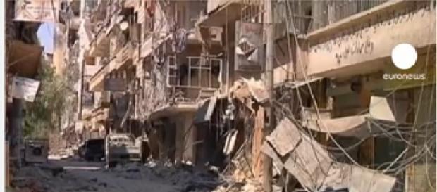 Deatruccion en las calles de Alepo