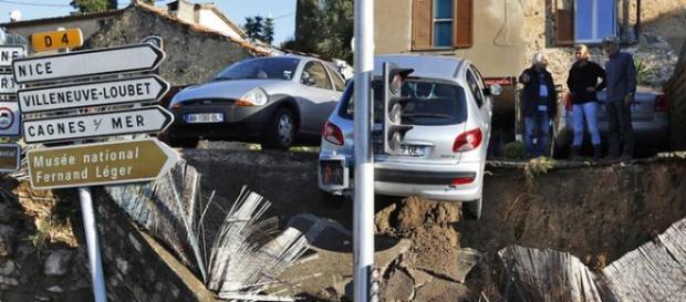 Destruição pluvial no sudoeste da França.