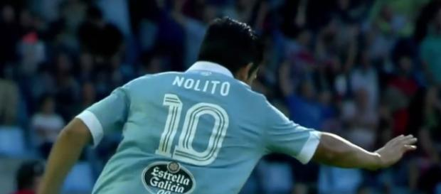 Nolito, celebrando un gol al Barcelona