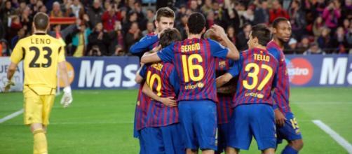 Las figuras del Barcelona, en pleno festejo.