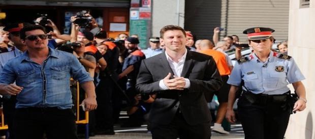 Leo Messi en Gava, declarando ante el juez
