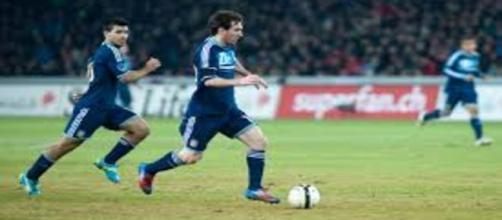Messi en un partido amistoso con su selección