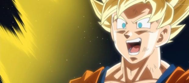 Goku riendo en su pelea contra Bills