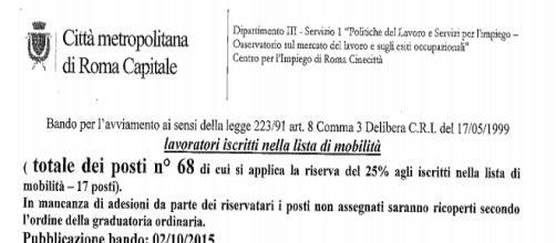 Roma, 68 posti nel 118, serve solo licenza media