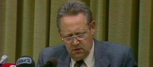 Günter Schabowski am 9.11.1989, Foto: SpiegelTV