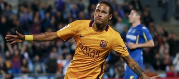 Neymar na comemoração do seu gol contra o Getafe
