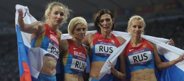 Atletas rusas festejando en Londres 2012