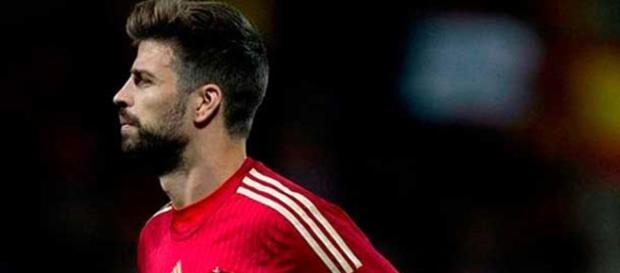 Piqué, en un partido de la selección española