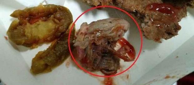 Cabeça de rato acima no sanduíche do MacDonald´s