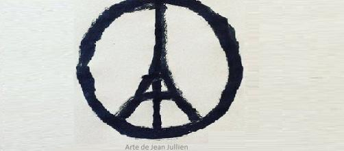 "Símbolo ""Peace for Paris"" do artista Jean Jullien."