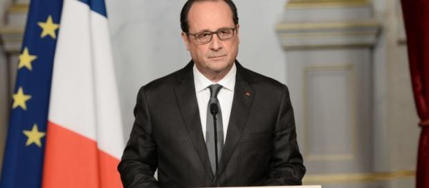 Francois Hollande speaking this morning