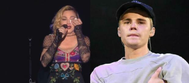 Justin Bieber e Madonna emocionados em show