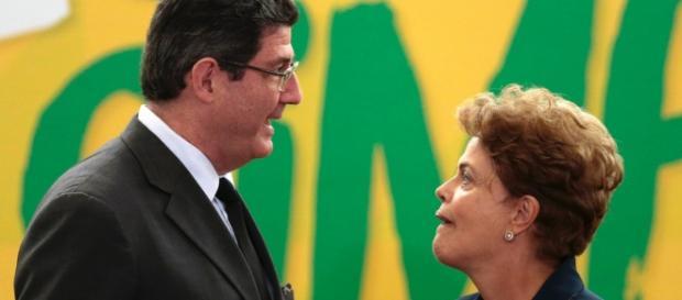 Ministro da Fazenda Joaquim Levy e Dilma Rousseff