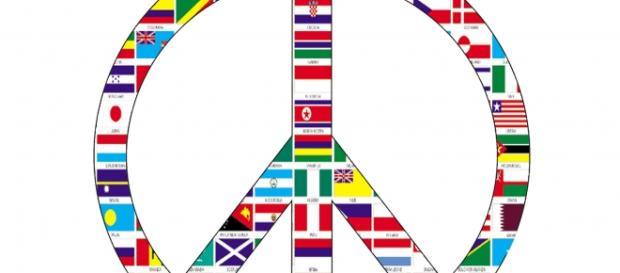 signo de la paz con la bandera de todos los países