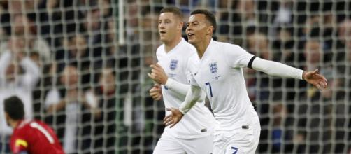 Dele Alli celebrating his debut goal