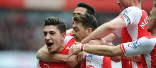 Hector Bellerin celebrating his first goal.