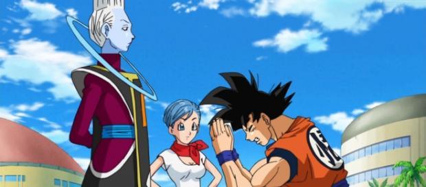 Goku pidiendole a Wiss que lo entrene