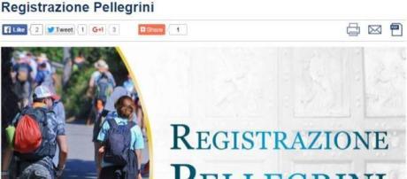 Pagina principale registrazione pellegrini