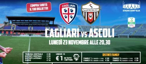 Cagliari-Ascoli, 14^ giornata di serie B