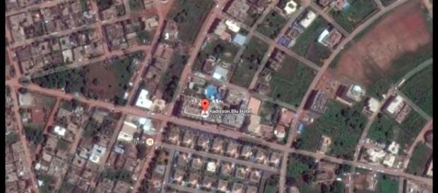 Localización en vista aérea del hotel Radisson