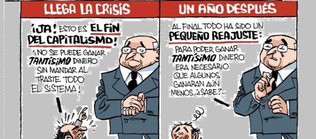 Viñeta satírica sobre la situación económica.
