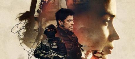 Blunt y del Toro en el cartel de la película