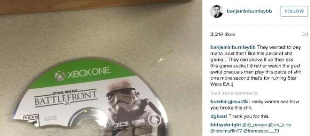 Instagram del cantante donde enseña el juego roto