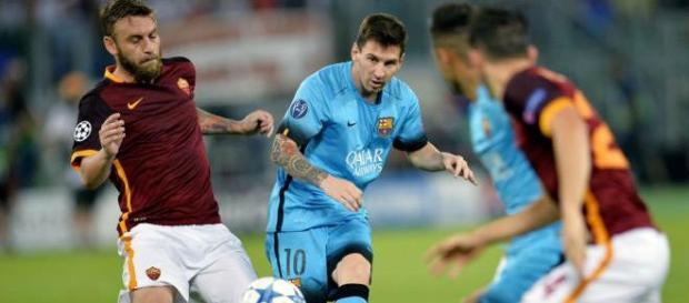 Messi en el partido disputado en Roma (Vía Yahoo).
