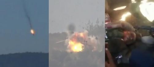 Caída del Su-24, Helicoptero y soldado Ruso muerto