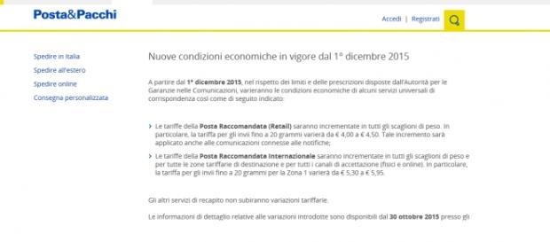Poste Italiane Aumento Delle Tariffe A Partire Da Dicembre 2015 I