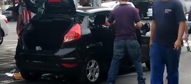 Vídeo com cenas da agressão (Foto: Facebook)