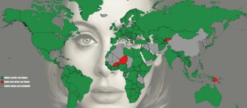 Mappa dei paesi che la canzone raggiunge su iTunes