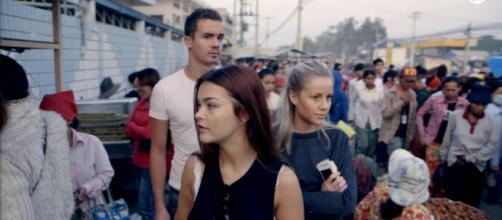 Los jóvenes Frida, Anniken y Ludvig en Camboya