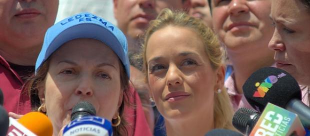 Lilian Tintori, durante un acto de protesta