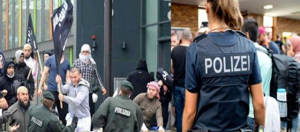 Niemiecka policja w starciu z imigrantami.