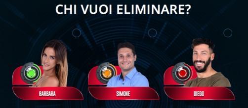 Chi sarà eliminato fra Barbara, Simone e Diego?