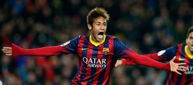 Neymar celebra su segundo gol, el 3-0.