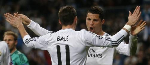 Bale y Cristiano celebran un gol.