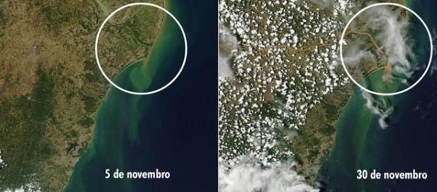 Satélite mostra avanço da lama