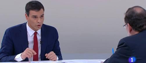Sánchez en el debate cara a cara con Rajoy