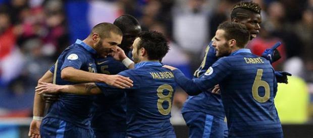 Benzema y Valbuena, con la selección francesa