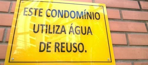 Água de reuso, placa comum em condomínios