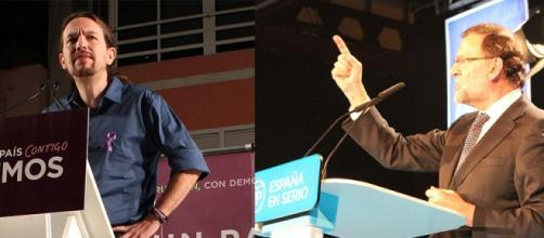 Pablo Iglesias y Rajoy en Canarias. FOTO: GARDEU