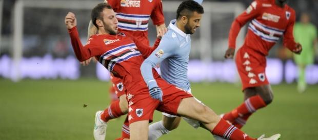 Felipe Anderson in azione contro la Sampdoria l