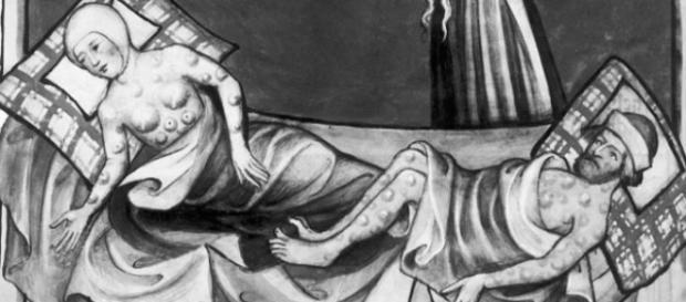 Ofiary dżumy - rycina z XV-to wiecznej Biblii