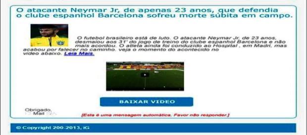Falsa notícia sobre a morte de Neymar
