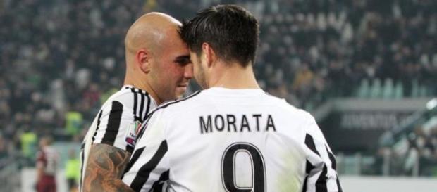 Zaza e Morata esultano durante il derby